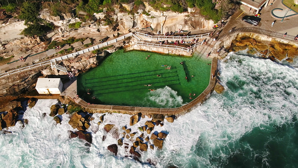 Aerial of Bronte pool, Bronte Beach, Sydney, New South Wales, Australia, Pacific - 1195-129