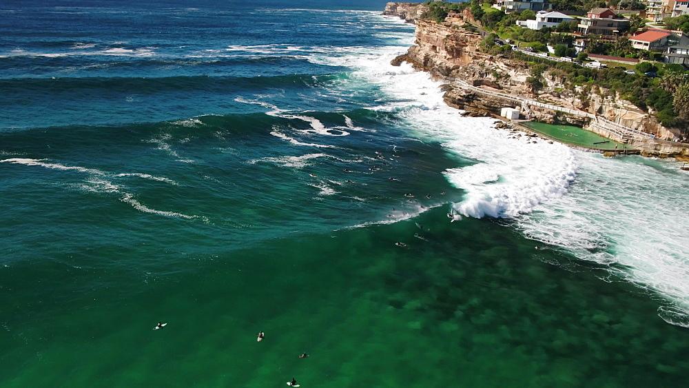 Aerial of Bronte pool, Bronte Beach, Sydney, New South Wales, Australia, Pacific - 1195-130