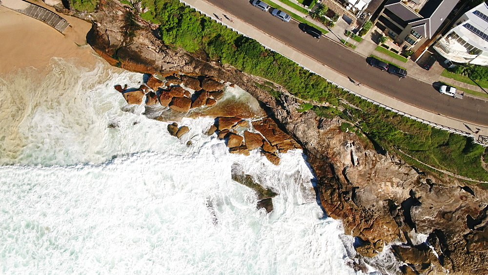 Aerial of waves in Bronte Beach, Sydney, New South Wales, Australia, Pacific - 1195-132