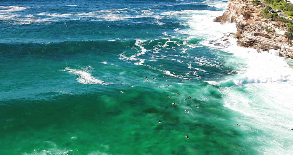 Aerial shot of surfers in Bronte Beach, Sydney, New South Wales, Australia, Pacific - 1195-135