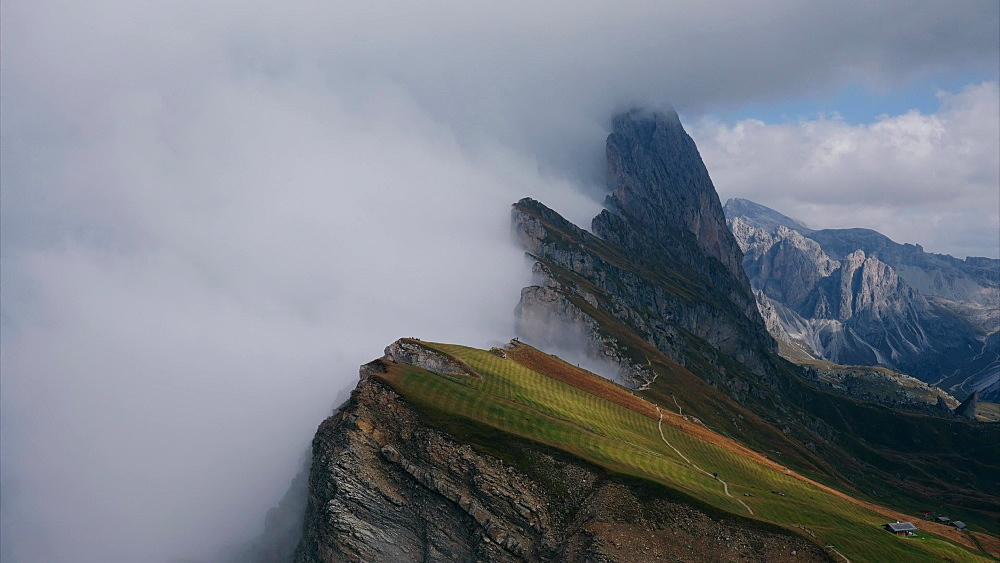 A short timelapse of weather front moving across Seceda mountain, the Dolomites, Italy, Europe