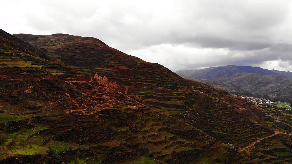 Aerial shot of Pisac village, Sacred Valley, Peru, South America