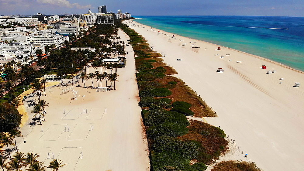 Aerial view of empty South Beach and Deco Drive during COVID-19 Pandemic, Miami Beach, Miami, Florida, United States of America, North America