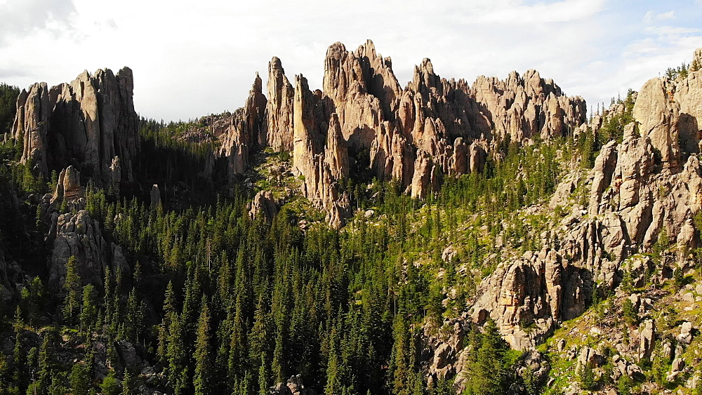 Drone view of Cathedral Spires, Custer State Park, South Dakota, United States of America, North America - 1218-1376