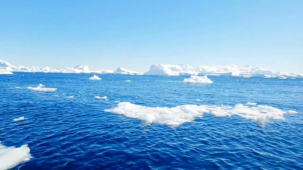 Scenic view of the icebergs and glaciers on the water of Antarctica, Polar Regions