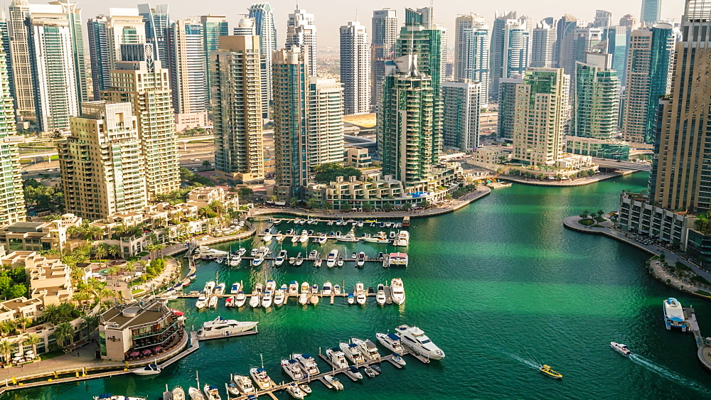 High view time lapse of Dubai Marina, Dubai, United Arab Emirates, Middle East