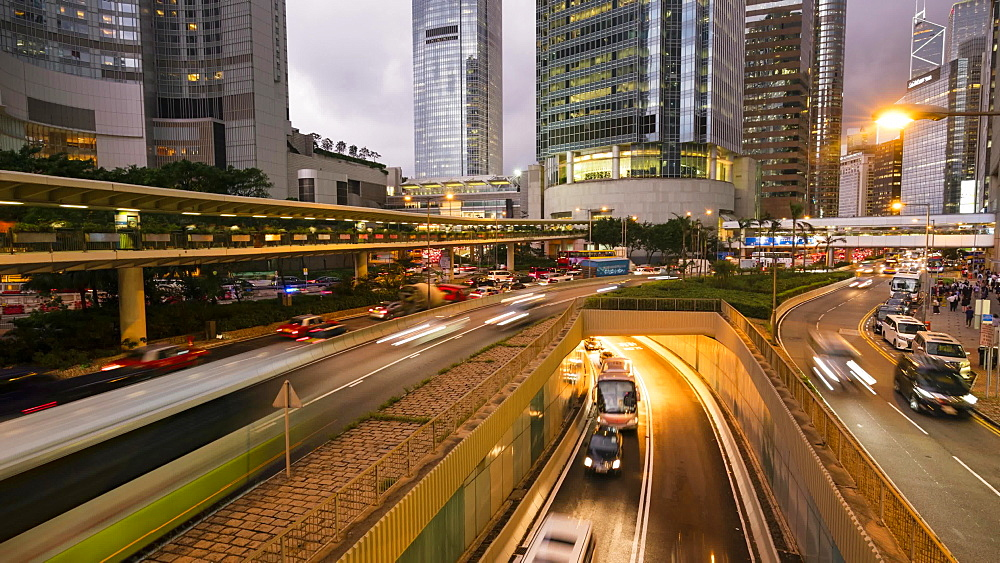 Rush hour traffic in Central, Hong Kong's financial district, time lapse, Hong Kong, China, Asia