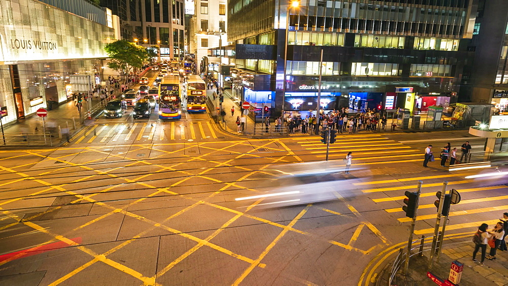 Rush hour traffic in Central, Hong Kong, financial district, time lapse, Hong Kong, China, Asia