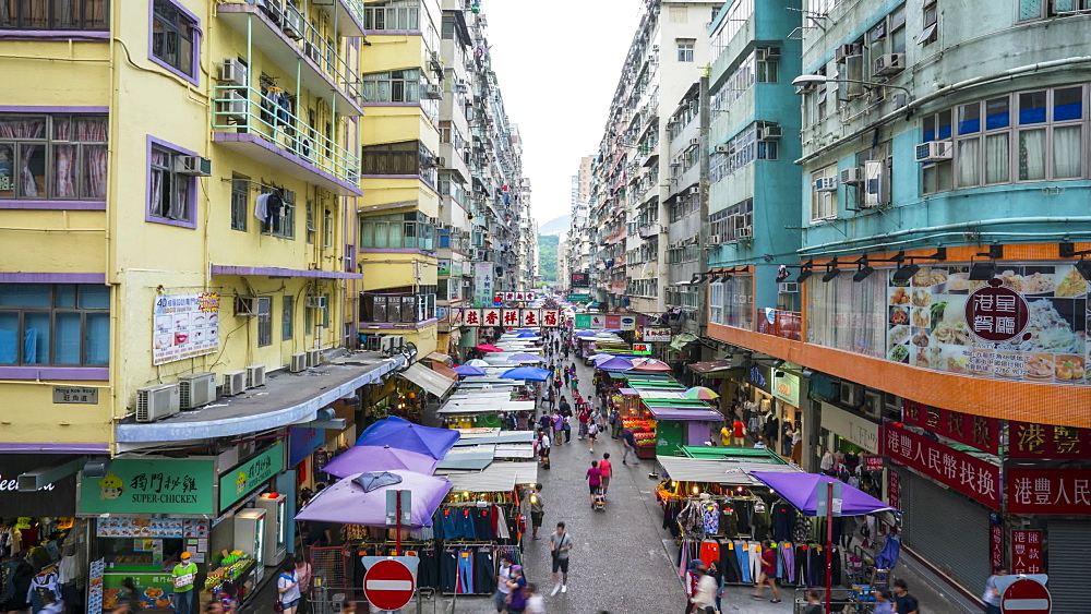 Time lapse of street market in Mong Kok, Kowloon, Hong Kong, China, Asia