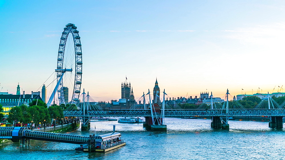 London Eye and Houses of Parliament at dusk from River Thames, time lapse, London, England, United Kingdom, Europe - 1226-984