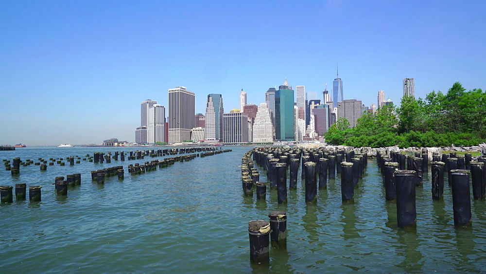 Manhattan skyline from Brooklyn Bridge Park, New York City, New York, United States of America, North America