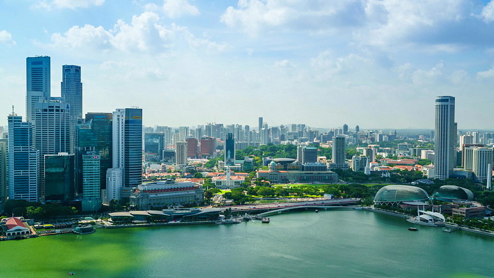 Singapore skyline from Marina Bay, time lapse, Singapore, Southeast Asia, Asia - 1226-992