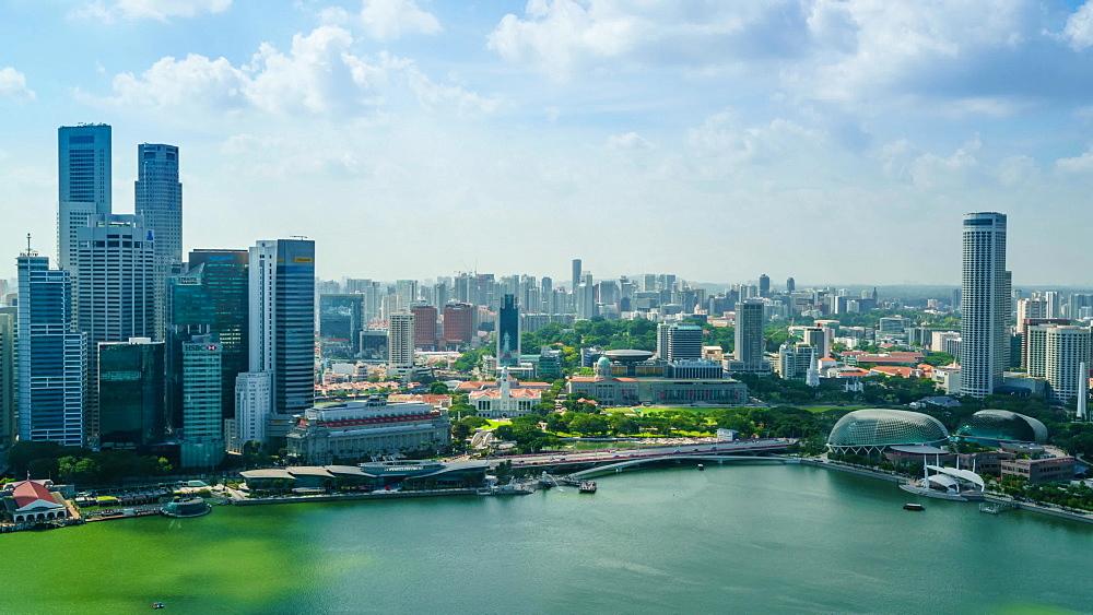 Singapore skyline from Marina Bay, time lapse, Singapore, Southeast Asia, Asia - 1226-992