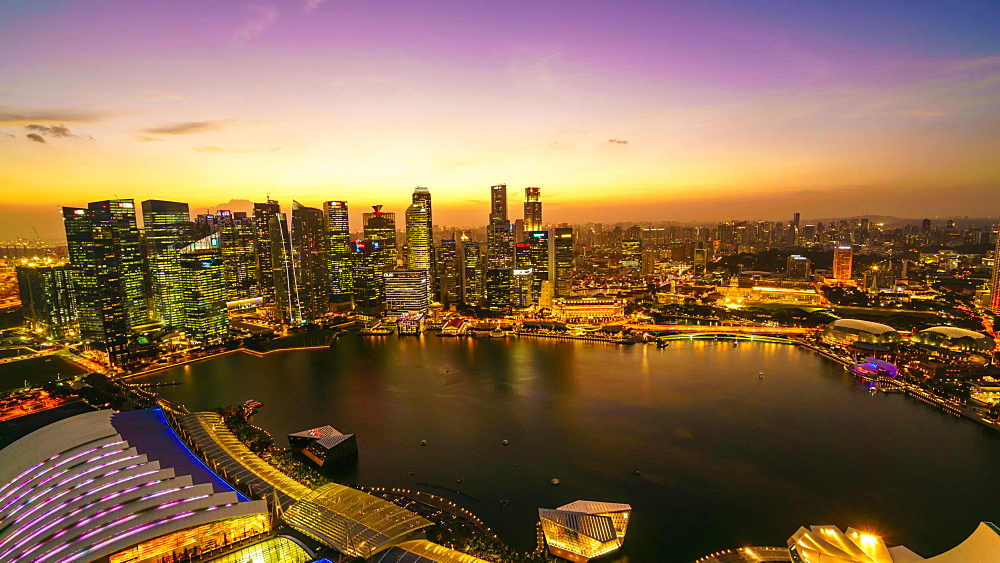 Singapore skyline from Marina Bay, day to night time lapse, Singapore, Southeast Asia, Asia