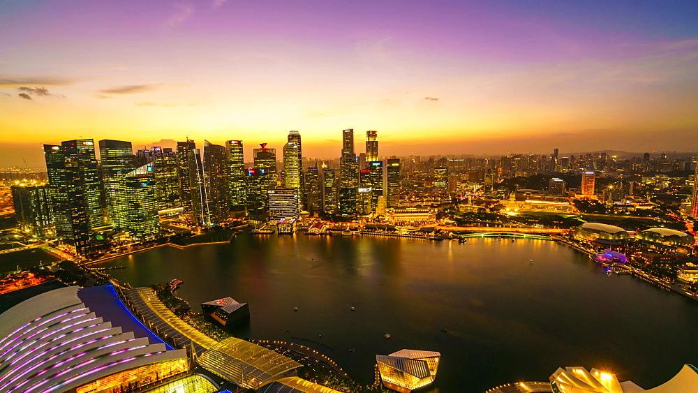 Singapore skyline from Marina Bay, day to night time lapse, Singapore, Southeast Asia, Asia - 1226-993