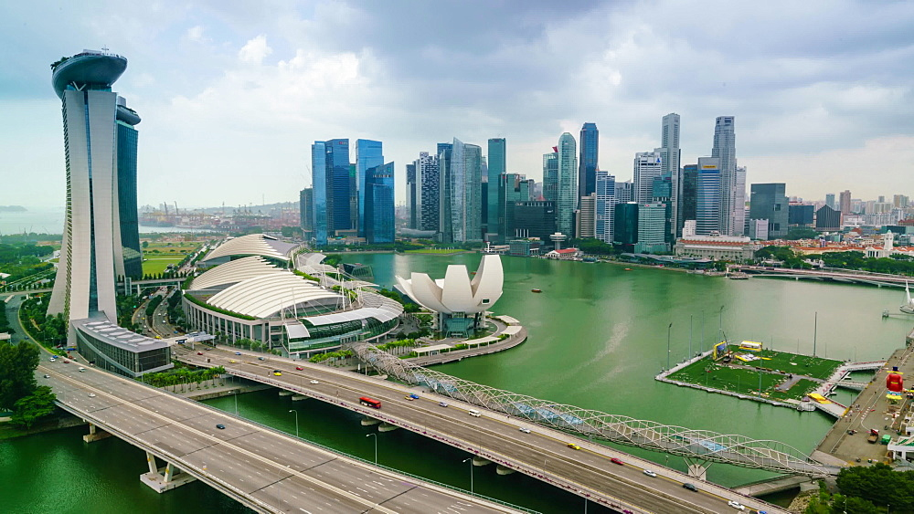 Time lapse of traffic on Benjamin Sheares Bridge to Marina Bay Sands Hotel, Singapore, Southeast Asia, Asia