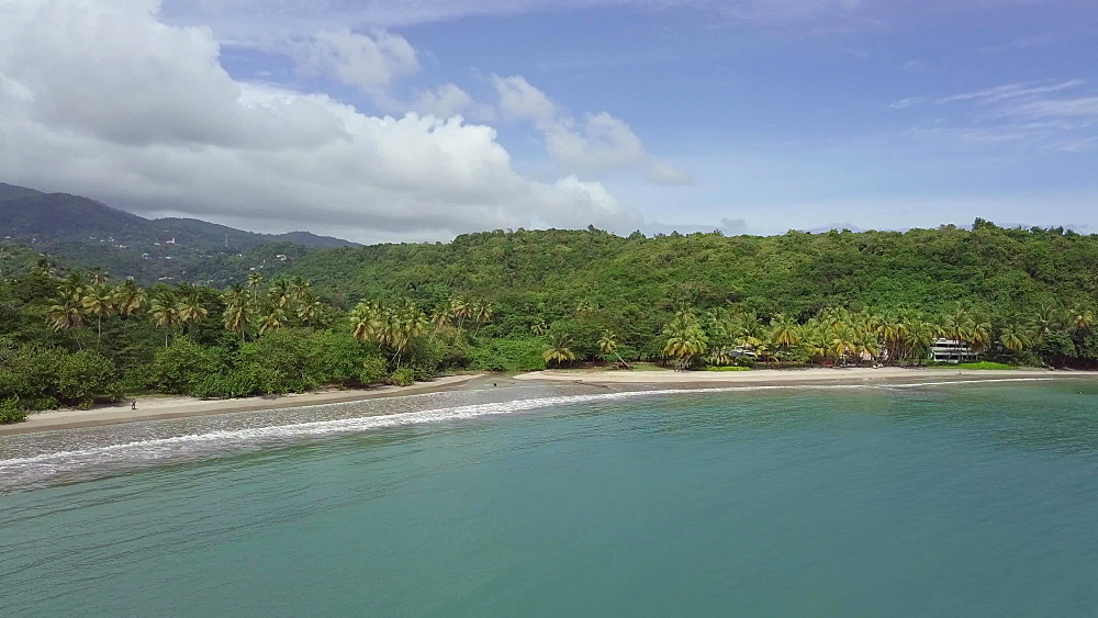 Drone approaching La Sagesse Beach, Grenada, West Indies, Caribbean, Central America