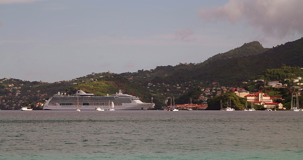 Cruise Ship in the Bay, St George?s, Grenada, Caribbean, West Indies.