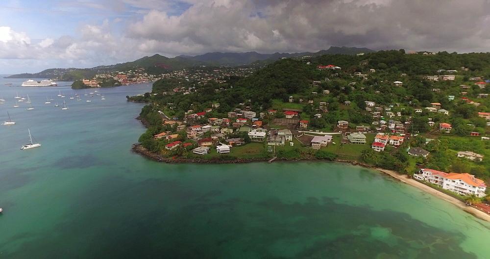 Aerial view of Grand Anse Beach Coastline, Grenada, Caribbean, West Indies.