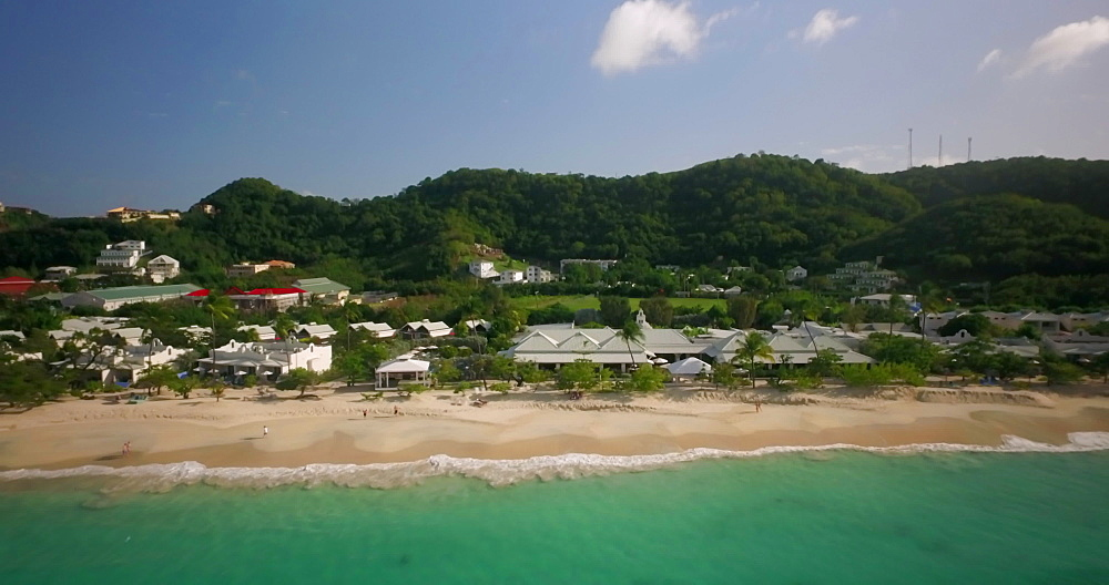 Aerial view of Grand Anse Beach, Grenada, Caribbean, West Indies.