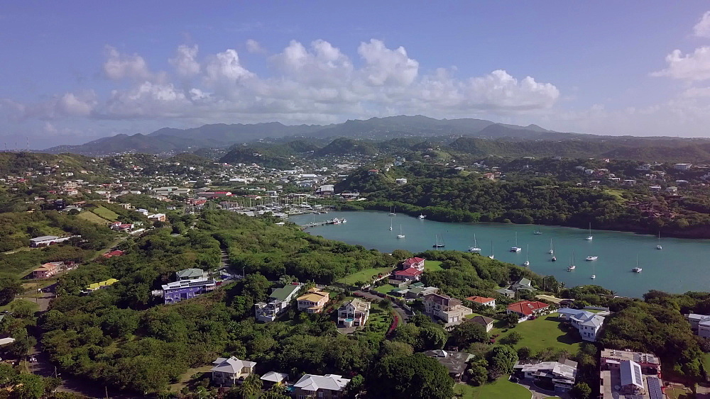 Aerial view Prickly Bay, Grenada, Caribbean, West Indies.