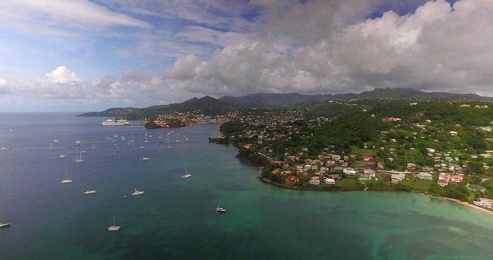Aerial view of Grand Anse and St George?s Coastline, Grenada, Caribbean, West Indies.