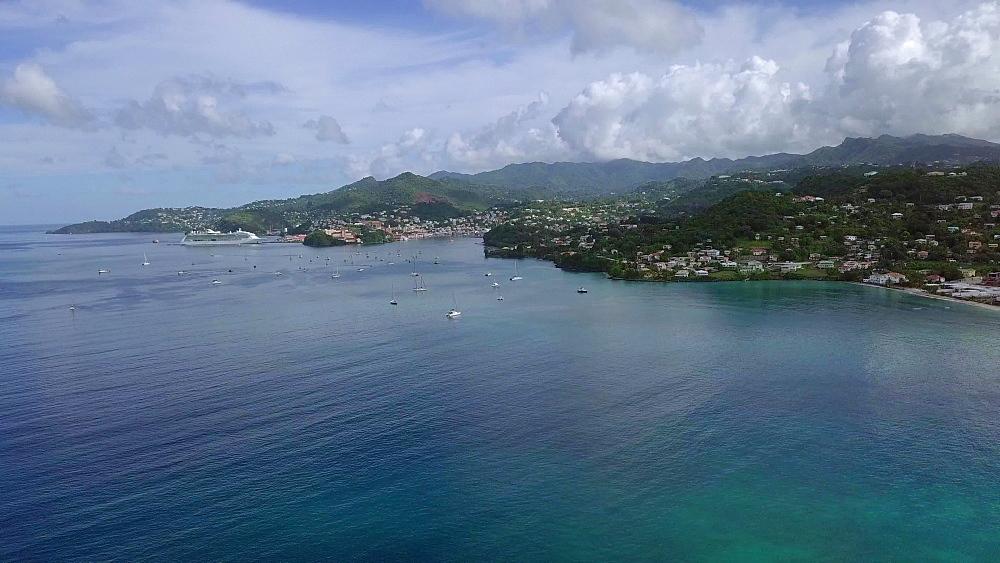 Aerial view of Grand Anse Bay, Grenada, Caribbean, West Indies.