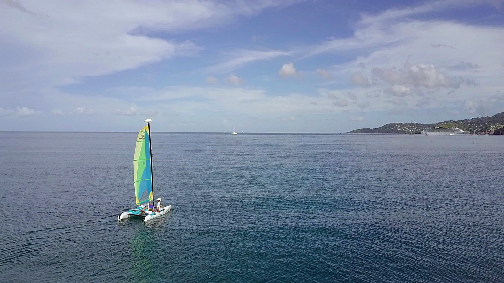 Aerial view of sail boat in Grand Anse Bay, Grenada, Caribbean, West Indies.