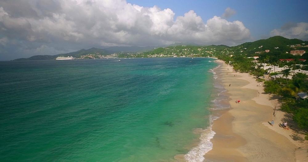 Aerial view along Grand Anse Beach, Grenada, Caribbean, West Indies.