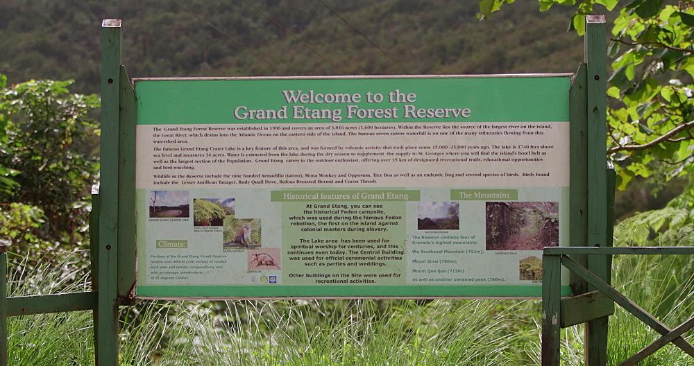 Grand Etang National Park Sign, Grenada, West Indies, Caribbean