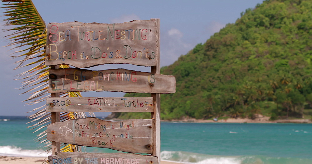 Sea turtle nesting sign, Levera Beach, Grenada, West Indies, Caribbean, Central America