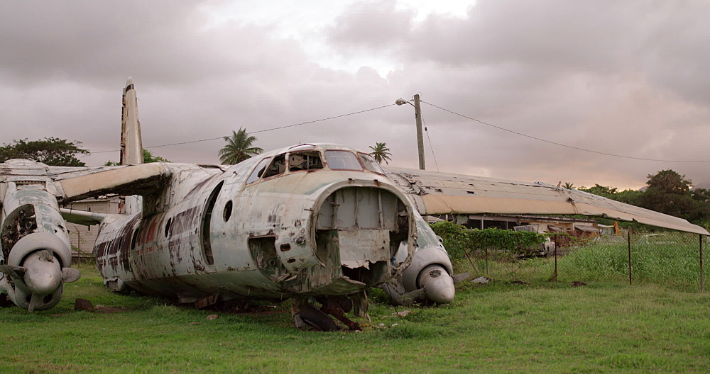 Front of abandoned plane at Pearls Airport, Grenada, West Indies, Caribbean, Central America