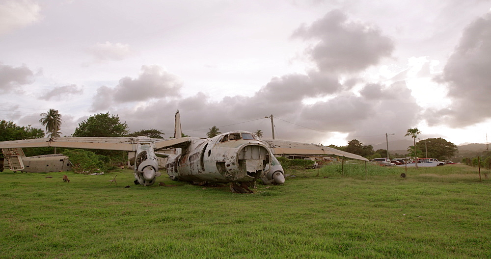 Abandoned plane at Pearls Airport, Grenada, West Indies, Caribbean