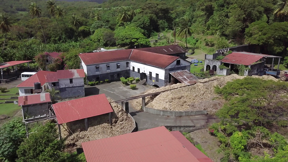 Aerial Drone over River Antoine Rum Distillery, Grenada, West Indies, Caribbean