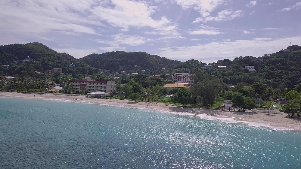 Aerial towards Grand Anse Beach, Grenada, West Indies, Caribbean