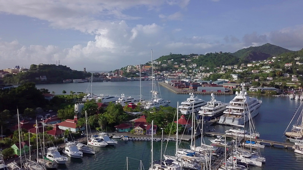 Aerial drone view of St. George''s harbour, Grenada, West Indies, Caribbean, Central America