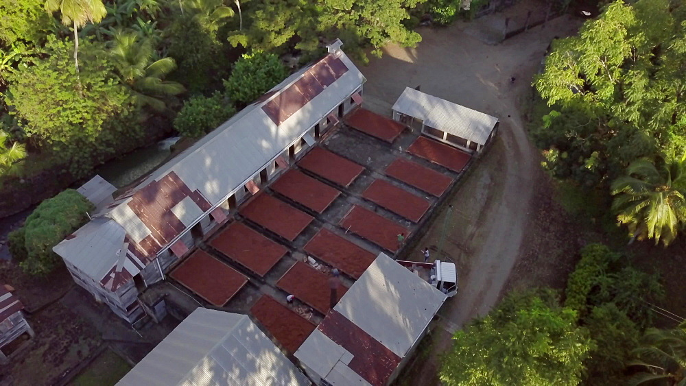 Drone aerial of Dougaldston Estate with drying racks out, Gouyave, Grenada, West Indies, Caribbean