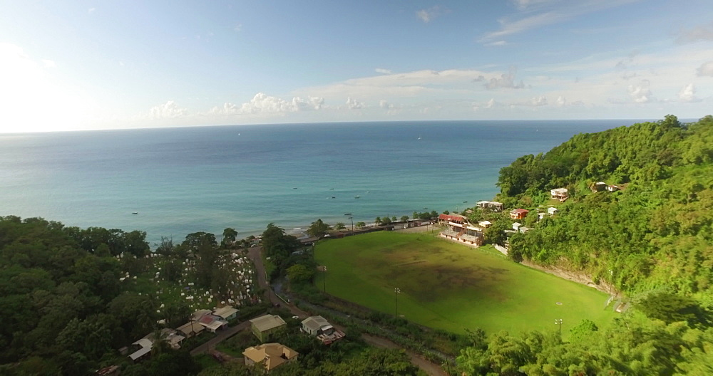 Drone aerial view of Gouyave, Grenada, West Indies, Caribbean, Central America - 1239-232