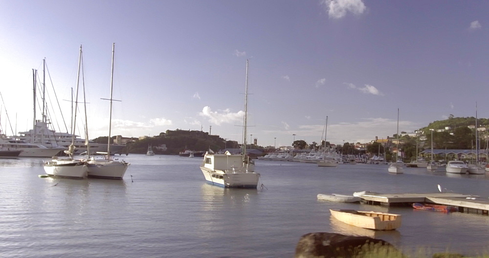 St. George''s Harbour at golden hour, Grenada, West Indies, Caribbean, Central America