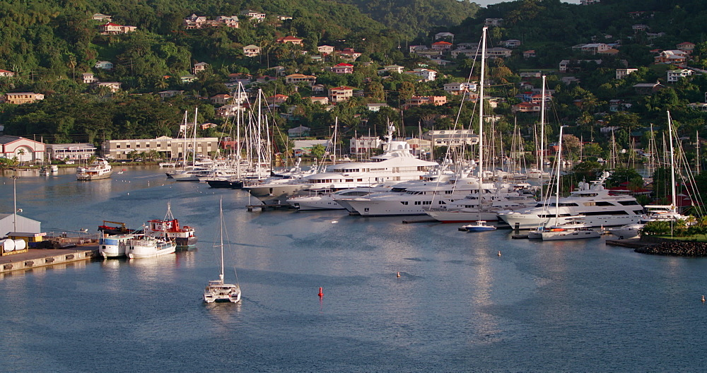 Yachts in St. George''s Harbour, St. George''s, Grenada, West Indies, Caribbean, Central America