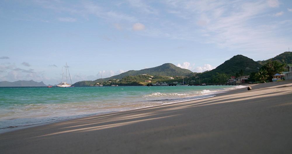 Waves lapping the shore at Hillsborough Beach / Bay, Carriacou, Grenada, Caribbean. - 1239-24