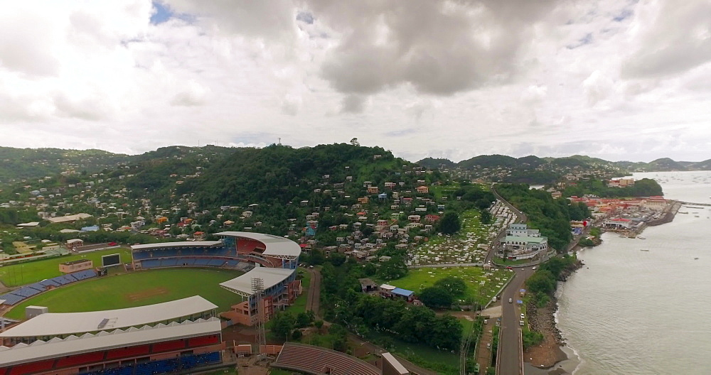 Aerial shot over St Georges Kirani James National Stadium, St Georges, Grenada, West Indies, Caribbean