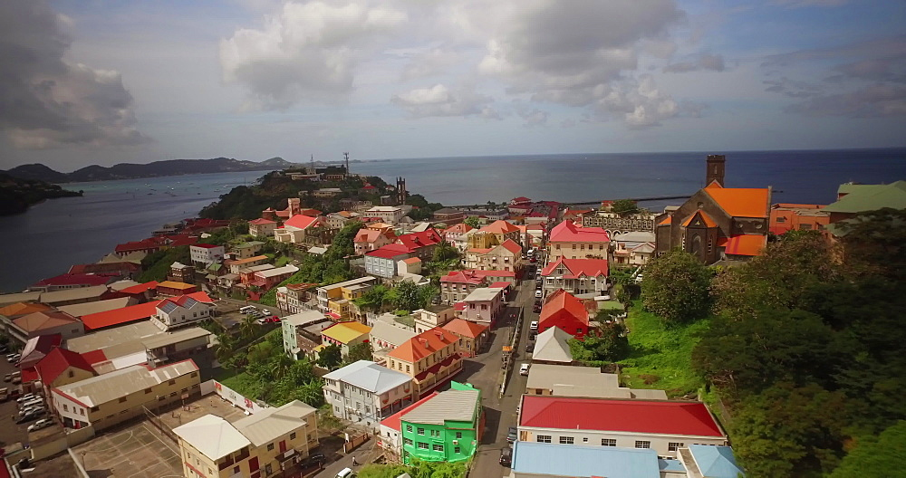 Aerial over St Georges, Grenada, West Indies, Caribbean