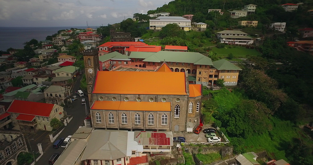 Aerial over Churches in St George?s, Grenada, West Indies, Caribbean