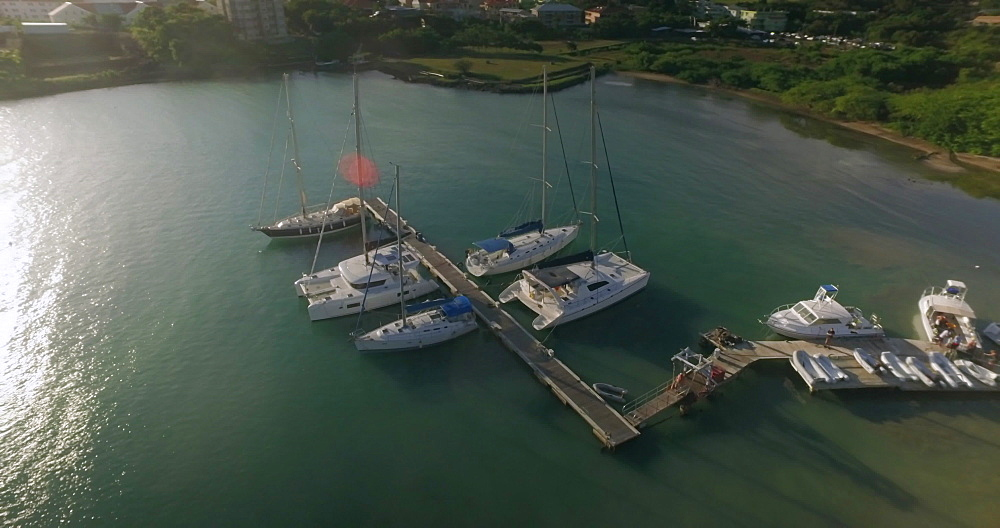 Aerial of boats docked, True Blue Bay, Grenada, West Indies, Caribbean