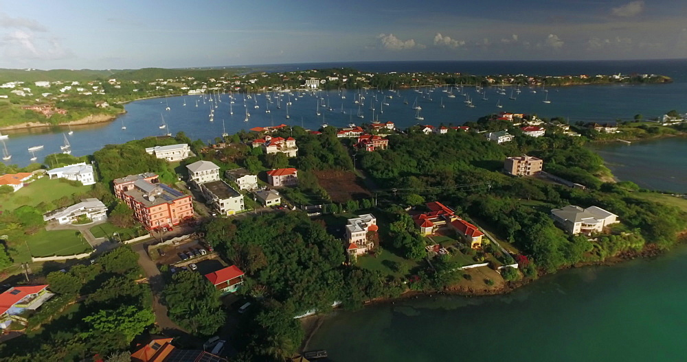 Aerial boats in the bay, Grenada, West Indies, Caribbean