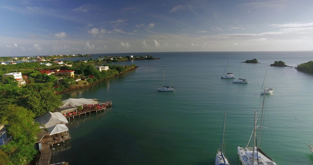 Drone aerial footage over True Blue Bay, Grenada, West Indies, Caribbean