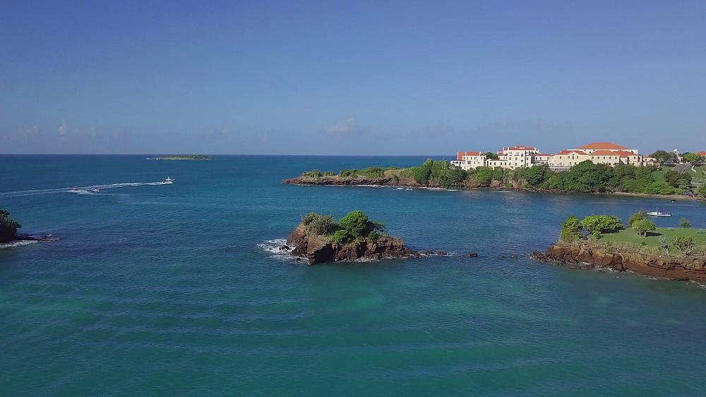 Drone aerial True Blue Bay Coastline, Grenada, West Indies, Caribbean