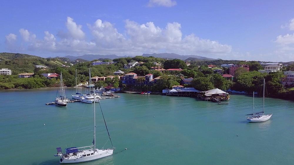 Aerial drone view towards True Blue Bay, Grenada, West Indies, Caribbean, Central America