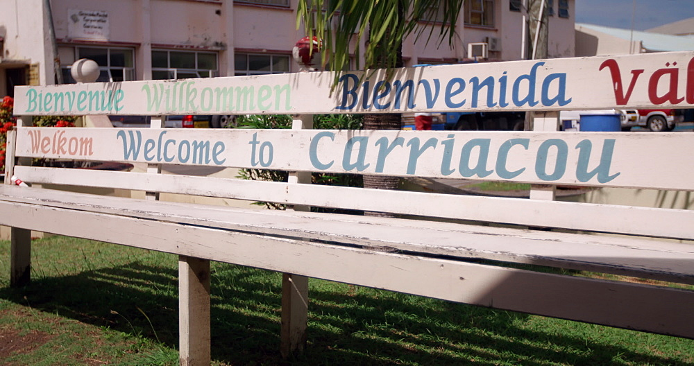 Welcome to Carriacou bench, Hillsborough, Carriacou, Grenada, West Indies, Caribbean, Central America